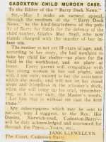 Letter appealing for defence funds for Gladys Snell. Barry Dock News 16th May 1919.