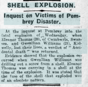 Newspaper report of the death of Gwenllian (Gwendoline) Williams