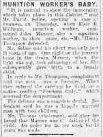Report proving paternity of Elsie Williams's baby. Herald of Wales 22nd December 1917.
