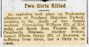 Minnie Bevan mentioned in a newspaper report, Carmarthen Journal Jan 1919