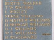 Name of Ellen Williams on St Mary's Church memorial, Cardigan